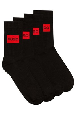 Two-pack of quarter-length socks with logo design, Black
