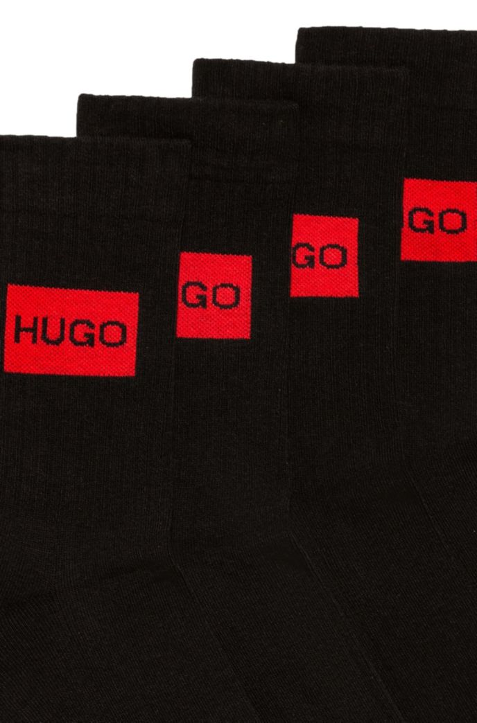 Two-pack of quarter-length socks with logo design