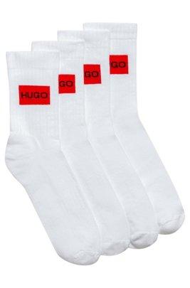 Two-pack of quarter-length socks with logo design, White