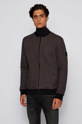 Quilted-look jersey jacket with check pattern, Grey