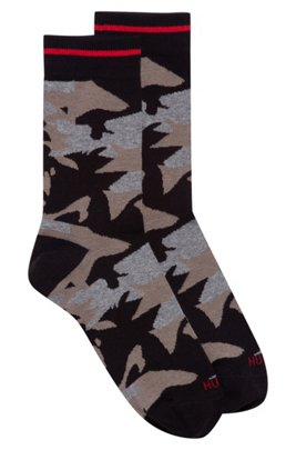 Quarter-length socks with new-season camouflage pattern, Black