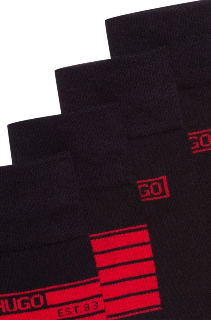 Two-pack of cotton-blend socks with logo artwork