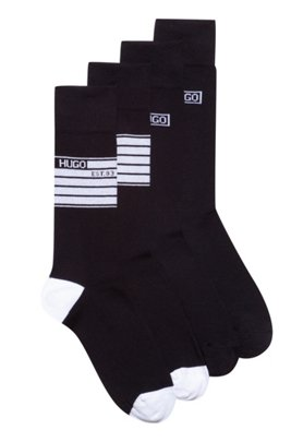 Two-pack of cotton-blend socks with logo artwork, Black