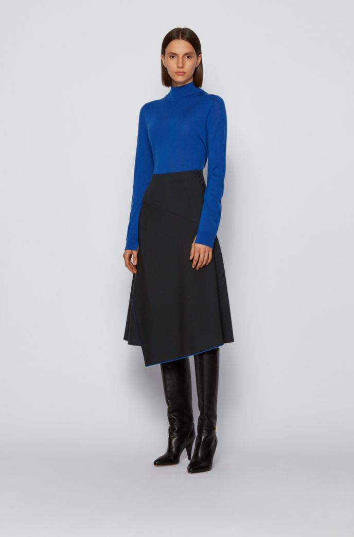 Asymmetric-front skirt in double-faced stretch fabric