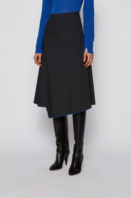 Asymmetric-front skirt in double-faced stretch fabric, Black