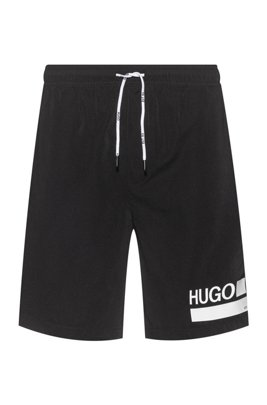 Quick-drying swim shorts with foil-printed branding, Black