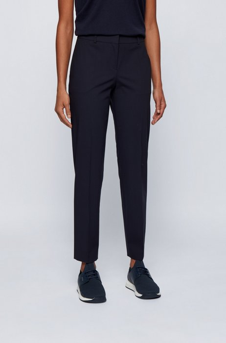 Relaxed-fit trousers in a crease-resistant wool blend, Dark Blue