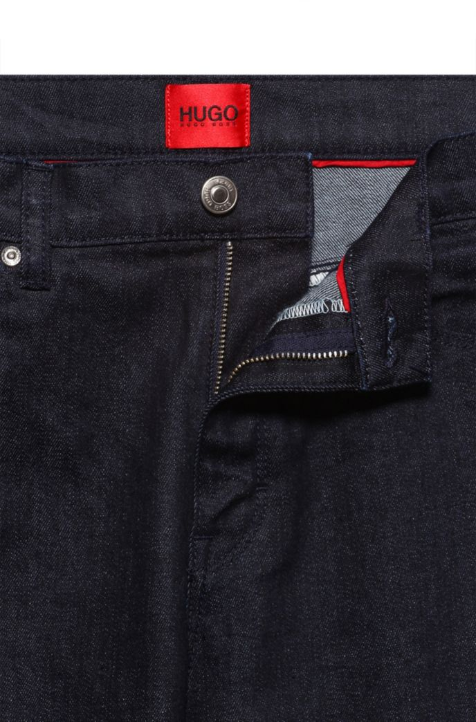 Slim-fit jeans in dark-blue stretch denim