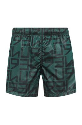 Quick-dry swim shorts with all-over logo print, Light Green
