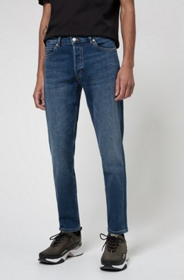 Tapered-fit jeans in mid-blue stretch denim, Blue