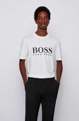 T-shirt à logo en coton mélangé à des fils recyclés, Blanc