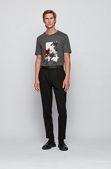 千鸟纹艺术图案修身版棉质 T 恤,  030_中灰色