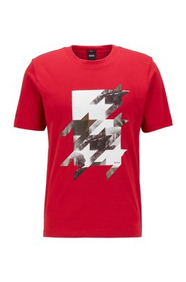 Slim-fit T-shirt in cotton with houndstooth artwork, Red