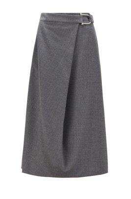 A-line skirt in traceable virgin wool with stretch, Grey