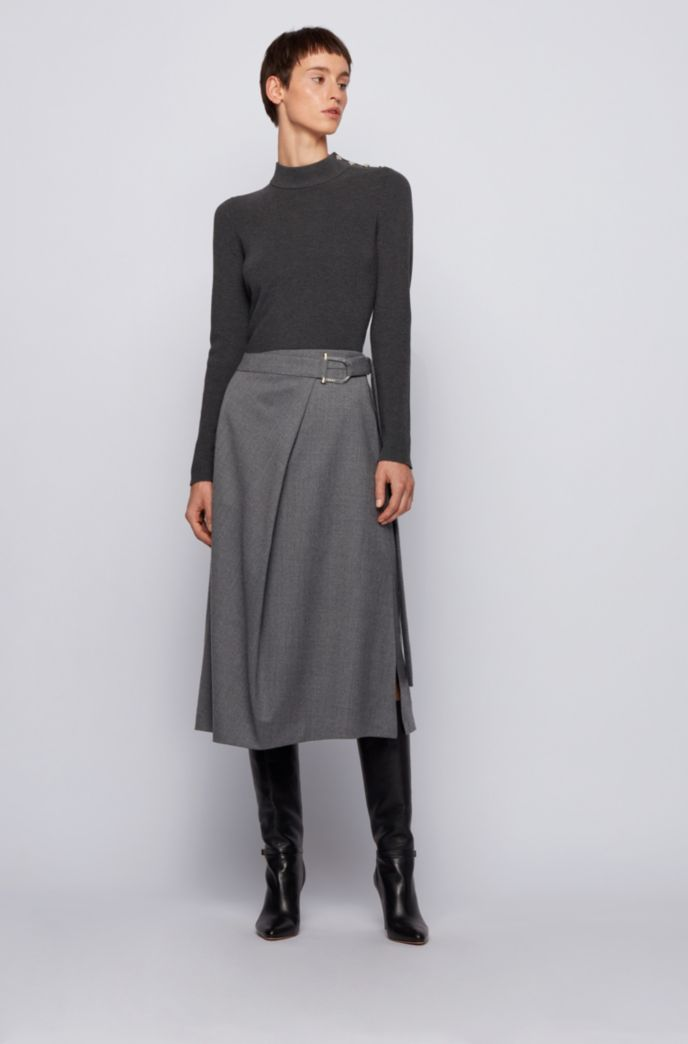 A-line skirt in traceable virgin wool with stretch