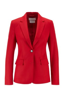 Regular-fit blazer in flanel van scheerwol met stretch, Rood