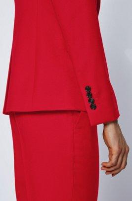 Regular-fit blazer in flanel van scheerwol met stretch, Rood