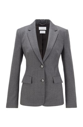 Regular-fit jacket in traceable stretch virgin wool, Grey