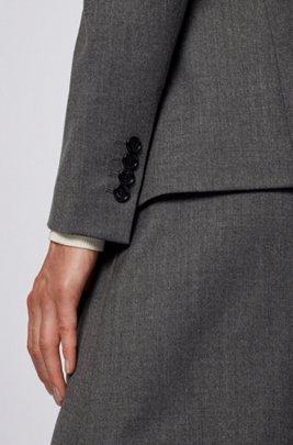Regular-fit blazer van traceerbare scheerwol met stretch, Grijs