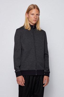 Regular-fit cotton-blend sweatshirt with tonal structure, Dark Blue
