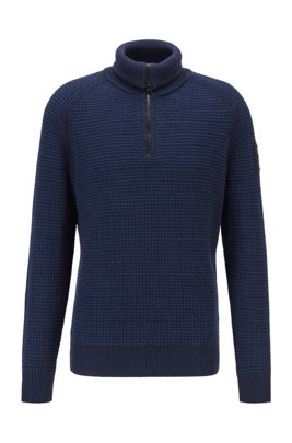 Zip-neck sweater in cotton-blend mouliné yarn, Dark Blue