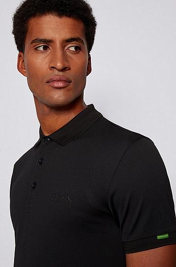 徽标装饰棉质修身 Polo 衫,  001_黑色