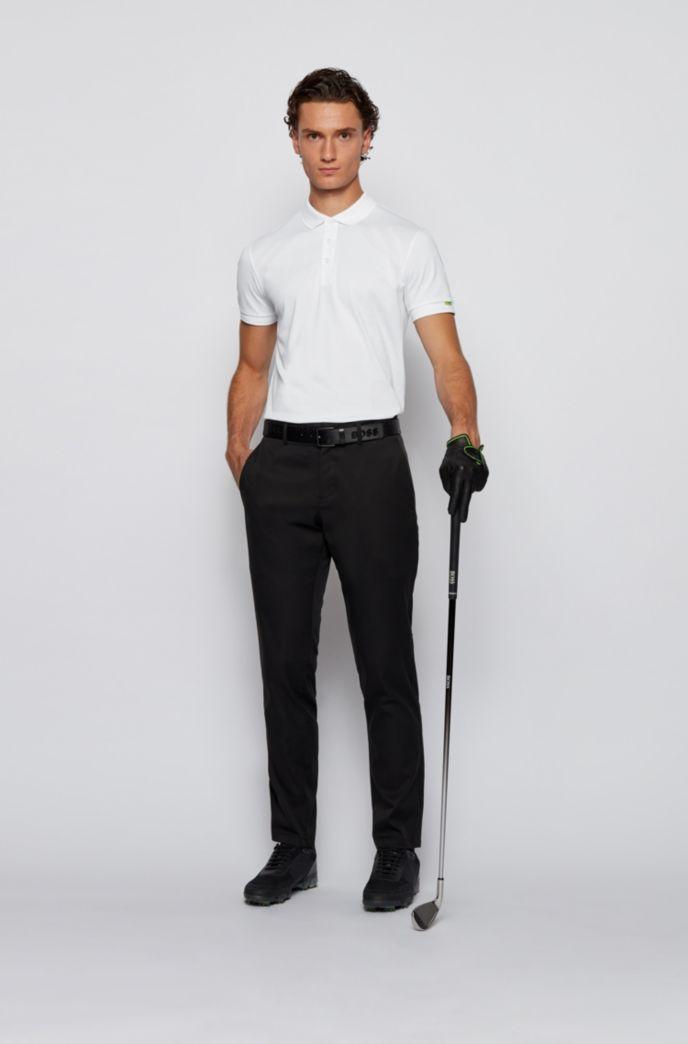 Polo shirt in S.Café® fabric with tonal animal print