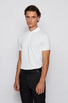Polo shirt in S.Café® fabric with tonal animal print, White