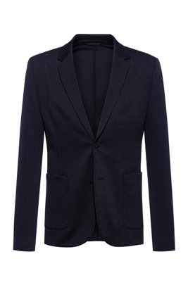 Extra-slim-fit jacket in patterned stretch fabric, Dark Blue