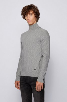 Slim-fit roll-neck sweater with mixed knits, Grey