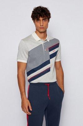 Polo en jacquard de coton à imprimé multicolore, Beige clair
