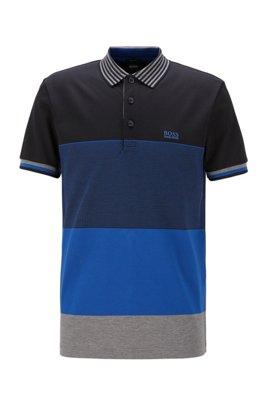 Polo color block en coton avec col à rayures, bleu clair
