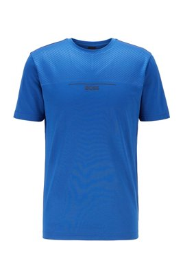 Cotton-blend jersey T-shirt with embossed detailing, Light Blue