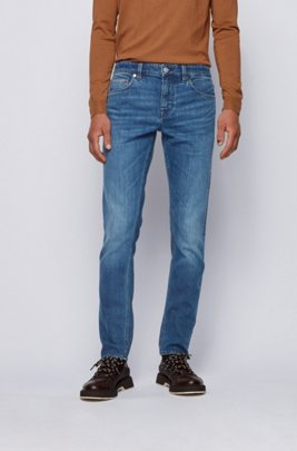 Extra-slim-fit jeans in mid-blue comfort-stretch denim, Blue