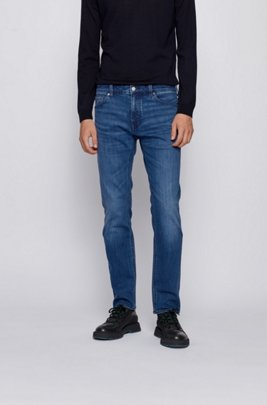 Regular-fit jeans in mid-blue comfort-stretch denim, Blue