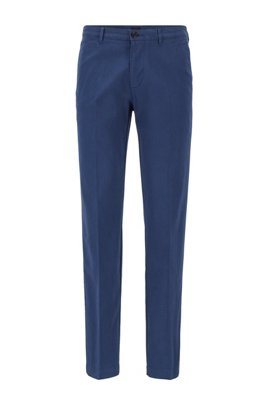 Chino Regular Fit en coton stretch bicolore, Bleu foncé