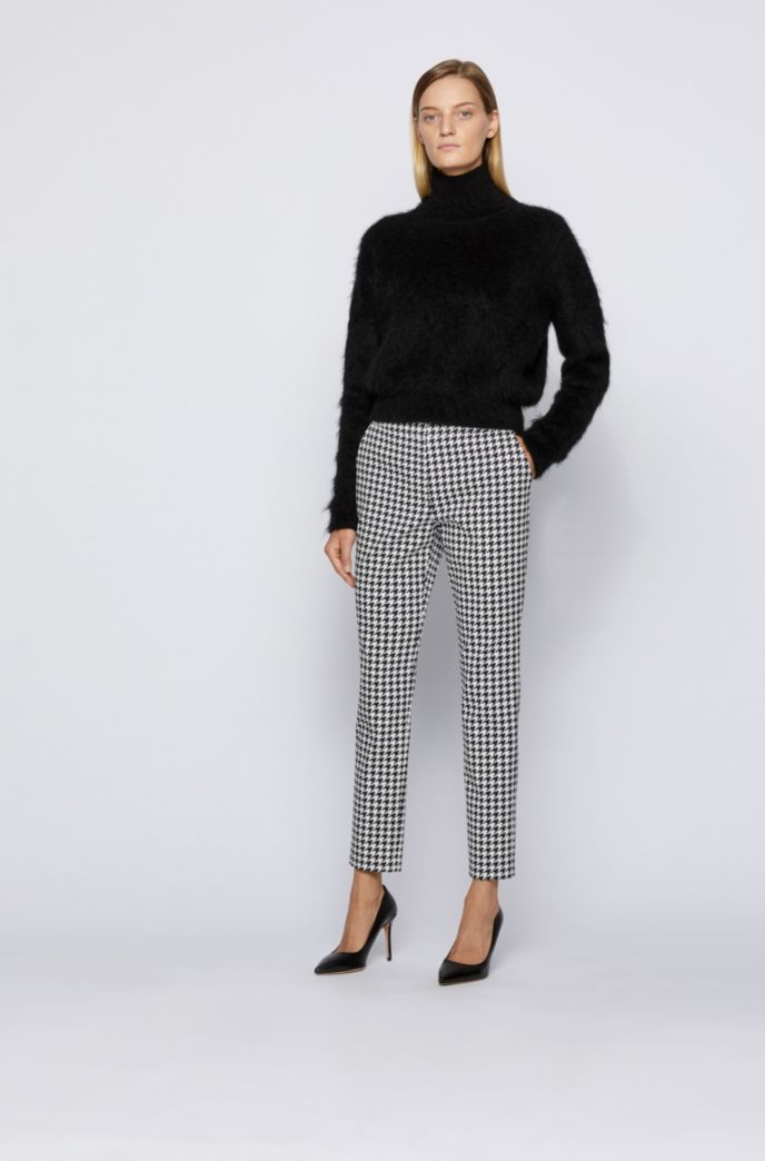 Slim-leg trousers with jacquard-woven houndstooth pattern
