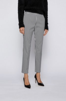 Slim-leg trousers with jacquard-woven houndstooth pattern, Patterned
