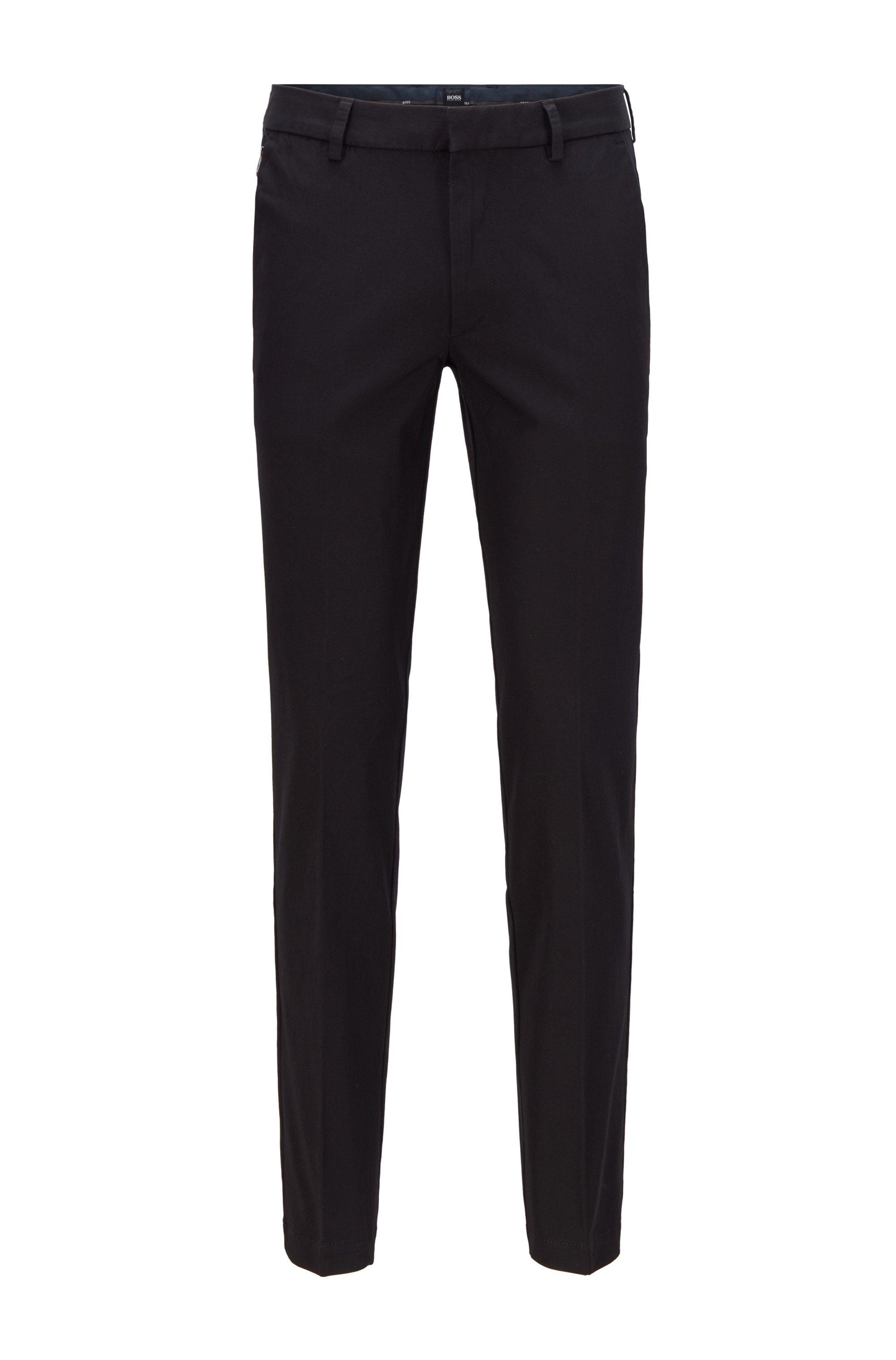 Pantaloni slim fit in twill elasticizzato ideale per viaggiare, Nero