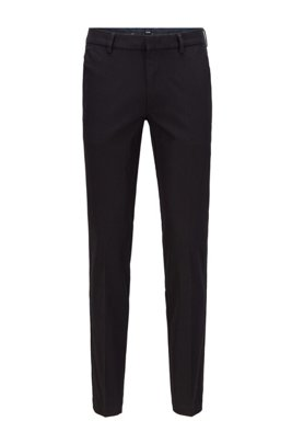 Slim-fit trousers in travel-friendly stretch twill, Black