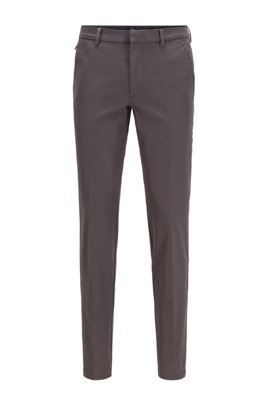 Slim-fit trousers in travel-friendly stretch twill, Grey