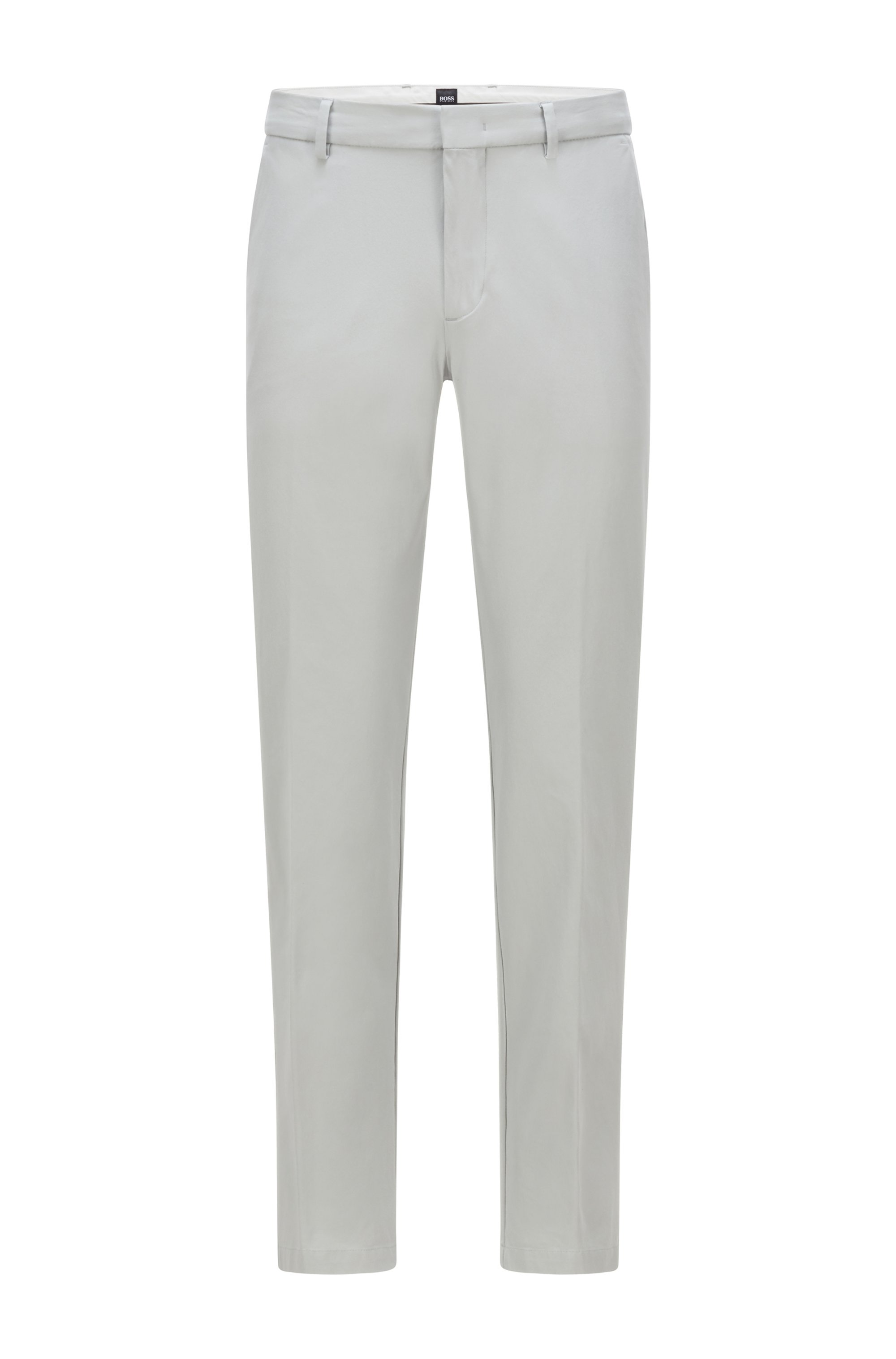 Slim-fit trousers in travel-friendly stretch twill, Light Grey