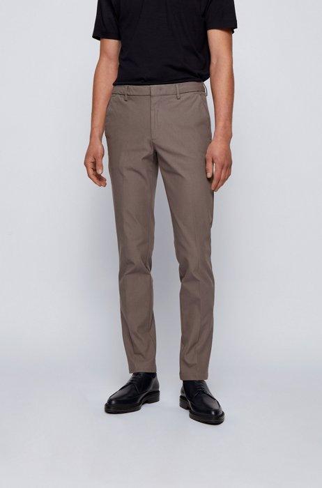 Slim-fit trousers in travel-friendly stretch twill, Grey