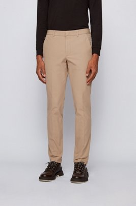 Slim-fit trousers in travel-friendly stretch twill, Light Beige