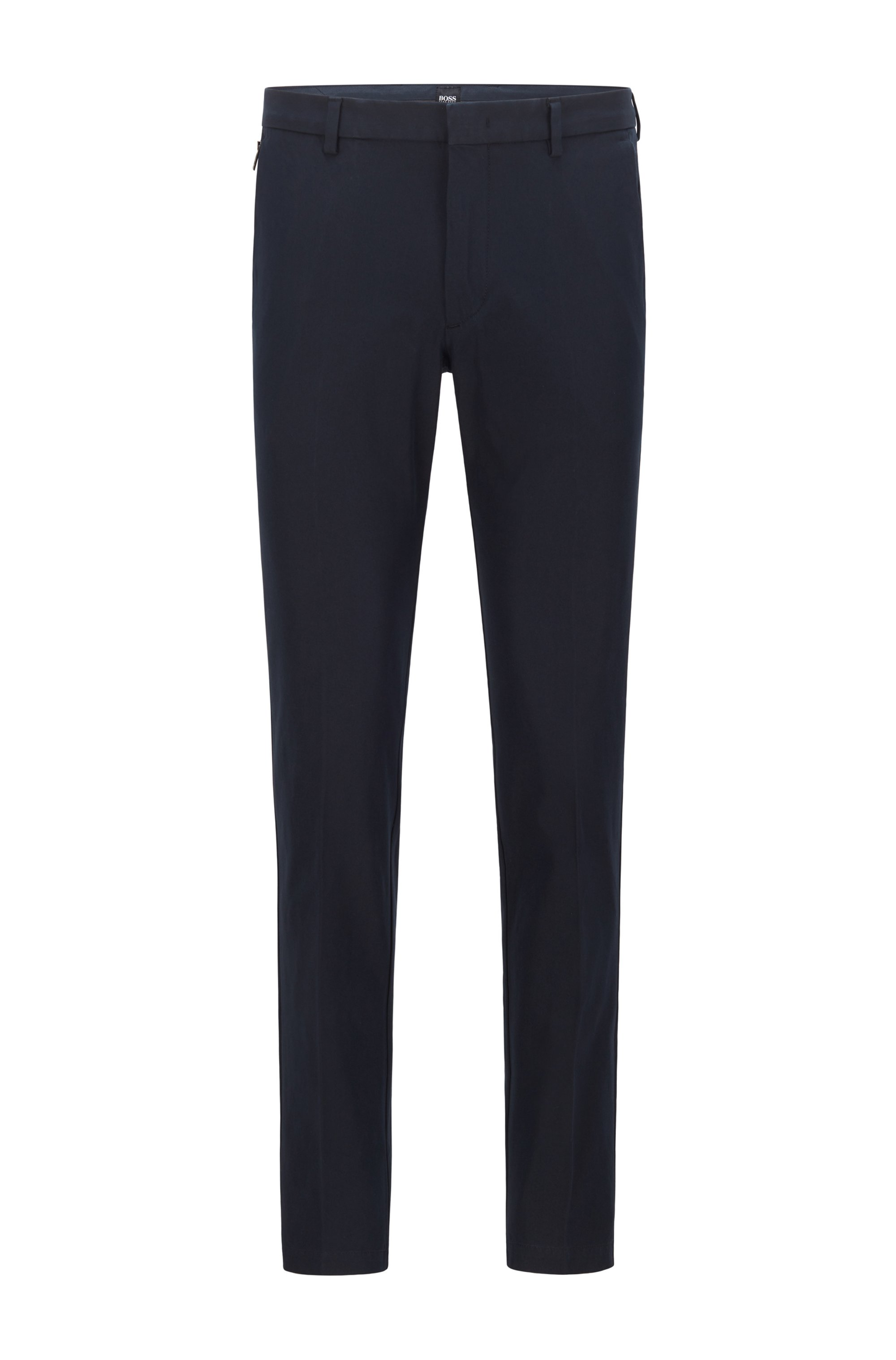 Slim-fit trousers in travel-friendly stretch twill, Dark Blue