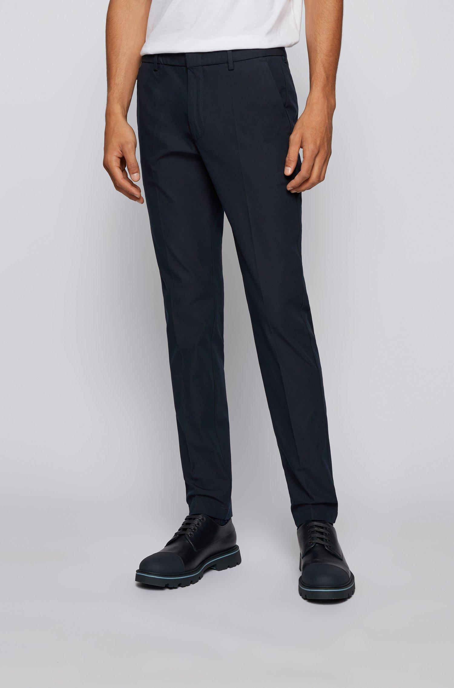 Slim-fit trousers in travel-friendly stretch twill, Dark Blue