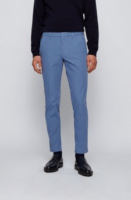 Slim-fit trousers in travel-friendly stretch twill, Light Blue