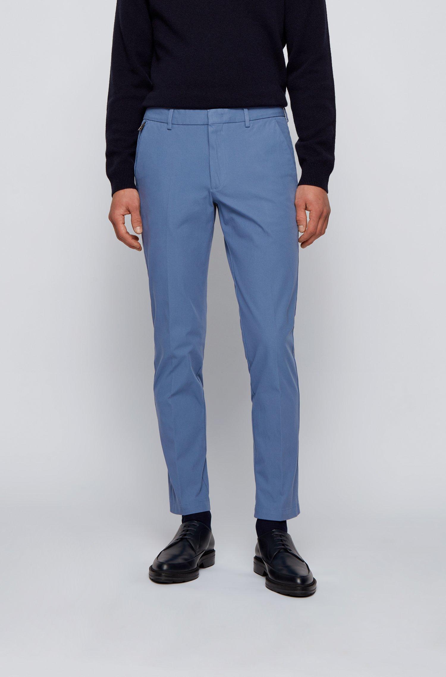 Slim-Fit Hose aus reisefreundlichem Stretch-Twill, Hellblau