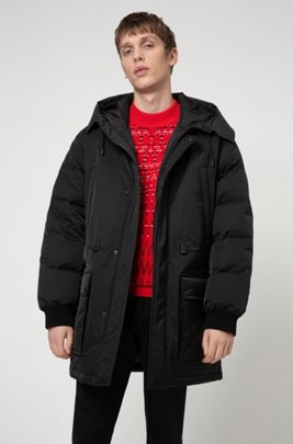 Water-repellent down coat with new-season branding, Black