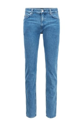 Slim-fit jeans in Italian stonewashed denim, Blue